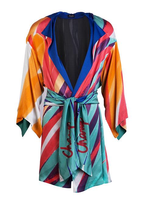 Printed Silk Satin Coat w/ Hood