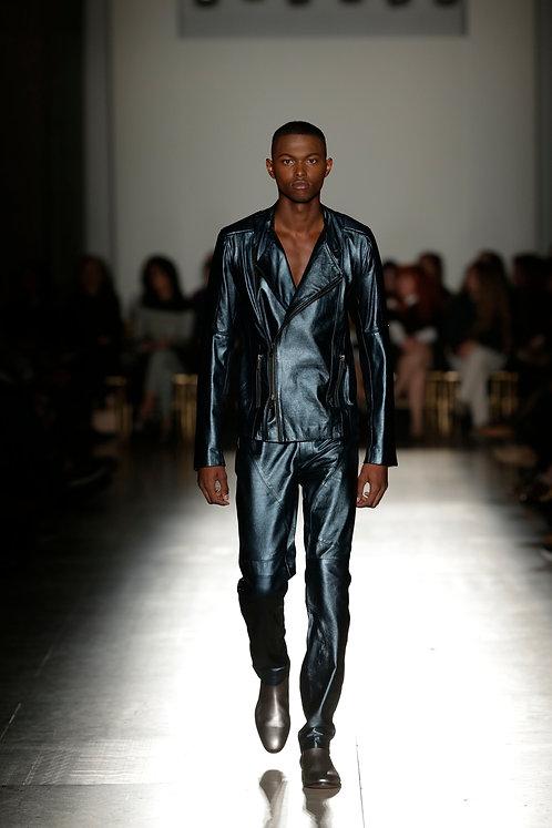 Blue Metallic Biker Jacket