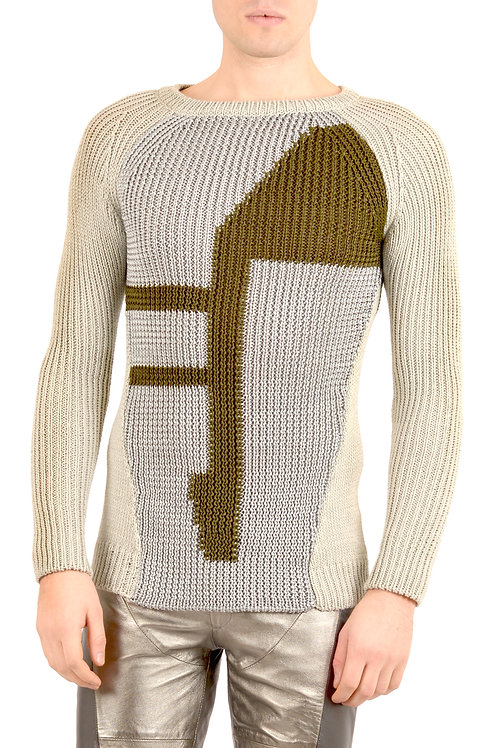 Grey and Green Knitwear Sweater