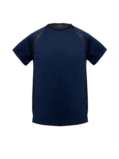 Raglan Panel T-shirt Blue Net