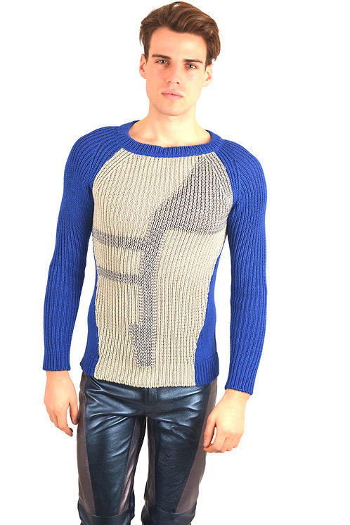 Grey and Blue Knitwear Sweater
