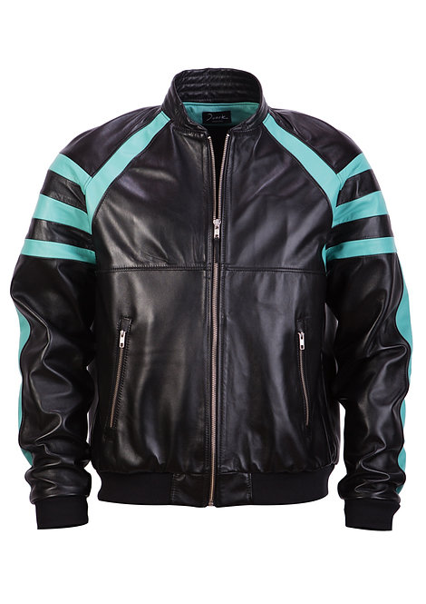 Leather Black&Blue Bomber Jacket