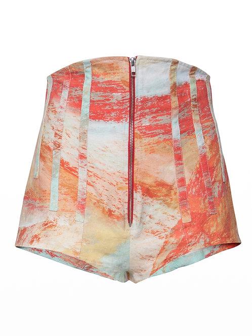 Pinted High Waist Boned Culottes
