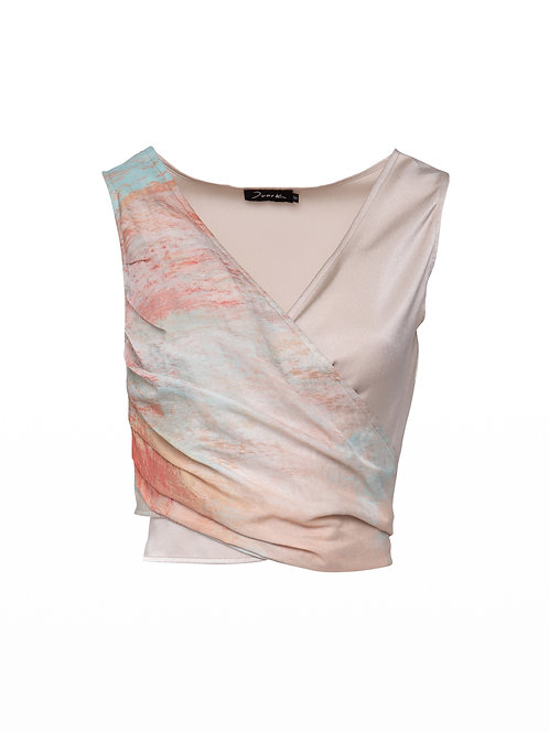 Printed Silk Wrap Top