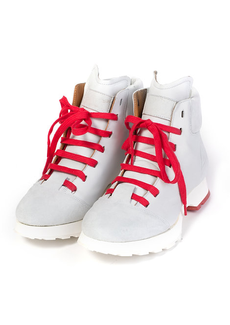 White/Red Leather Boots