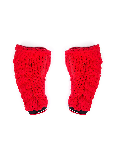 Red Chunky Knit Gloves