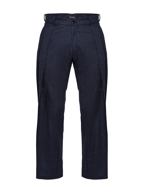 Blue Pleated Trousers