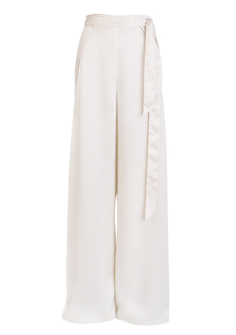 Silky White Trousers
