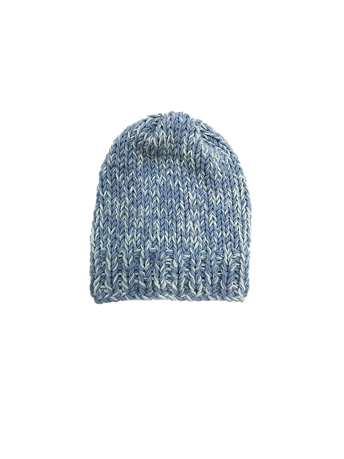 Unisex Knitted Blue Beanie