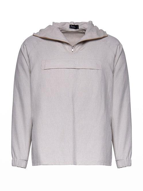 Unisex Beige Linen Hoodie Sweater