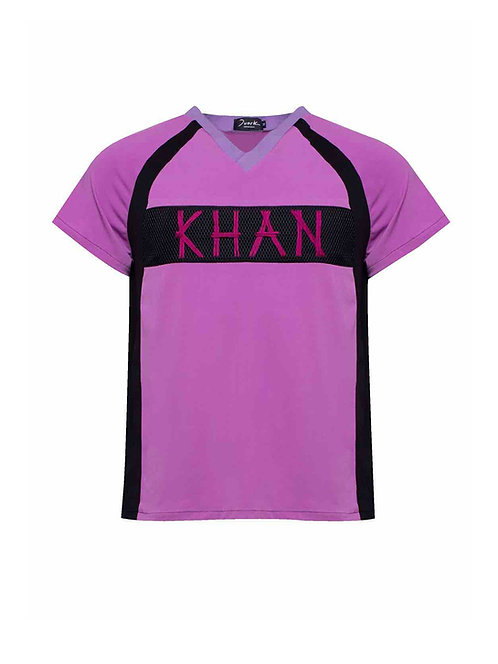 V-Neck Raglan Panel T-shirt Lilac Khan