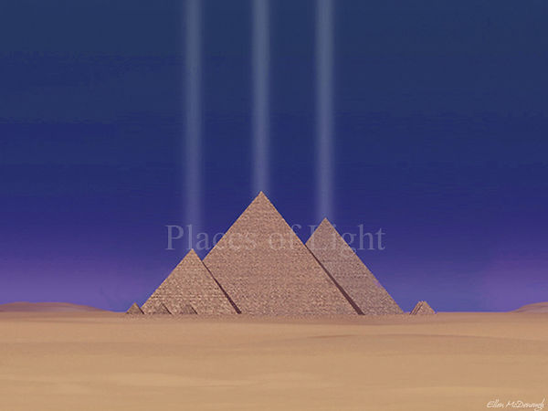 Giza Power - Columns of light rise from the apex of each Egyptian pyramid - by Places of Light Visionary Art