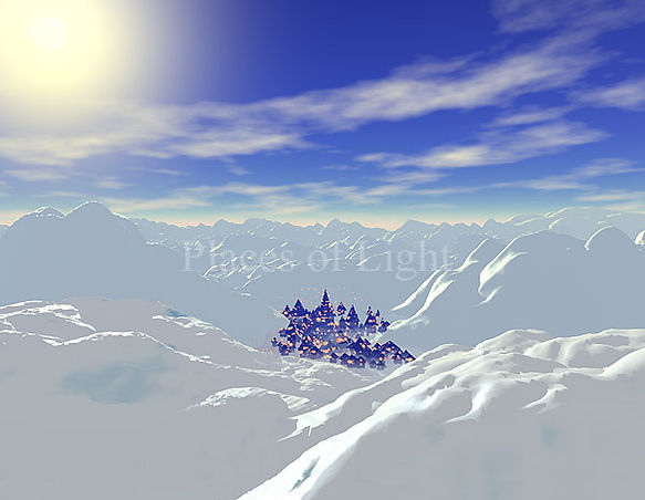 Winter Village - mystical image of a magical snowy village - by Places of Light Visionary Art