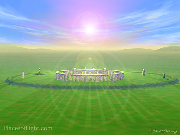Summer Solstice - Mystical image of Stonehenge on the Summer Solstice by Places of Light Visionary Art