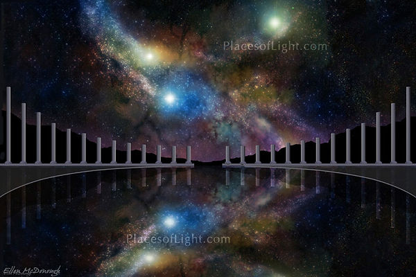 Cosmic Reflection - SciFi fantasy art of stars, nebulas and outer space - by Places of Light Visionary Art