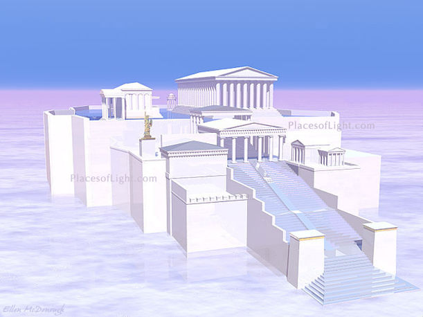 Acropolis of the Heavens - spiritual, mystical image of the ancient Acropolis in Athens, Greece