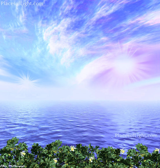 Aurora - mystical art of a dramatic cloudscape with blue, pink and purple hues - by Places of Light Visionary Art