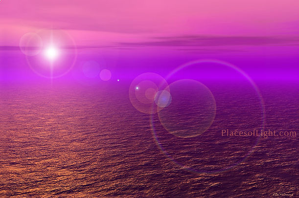 Copper Water - mystical, fantasy image of orbs of light on a shimmering copper ocean - by Places of Light Visionary Art