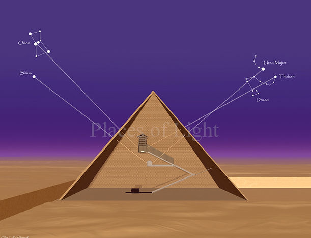 Cosmic Alignment - mysterious alignments of the Great Pyramid with Orion, Sirius, Draco & Thuban - art print by Places of Light Visionary Art