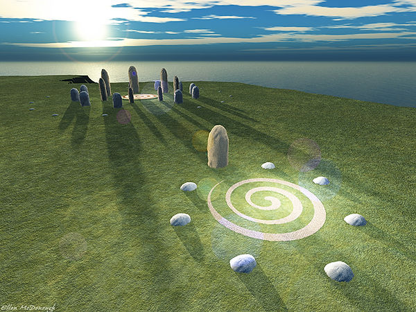 Hy-Brasil stone circle on the winter solstice sunrise, built by the ancient Atlanteans