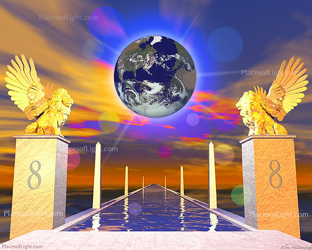 The Lion's Gate 8-8 - mystical, spiritual image by Places of Light Visionary Art