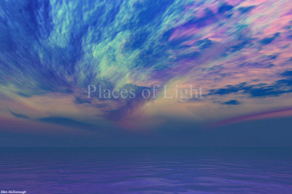 Pearlescent Deep - mystical image of a dramatic skyscape with blue, magenta and gold hues - by Places of Light Visionary Art