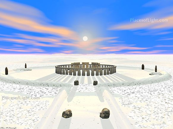 Winter Solstice - mystical image of Stonehenge at sunset on the Winter Solstice - by Places of Light Visionary Art