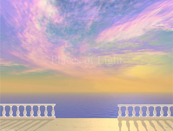 Veranda View - beautiful art print of a dramatic swirling sky of pink & gold - by Places of Light Visionary Art