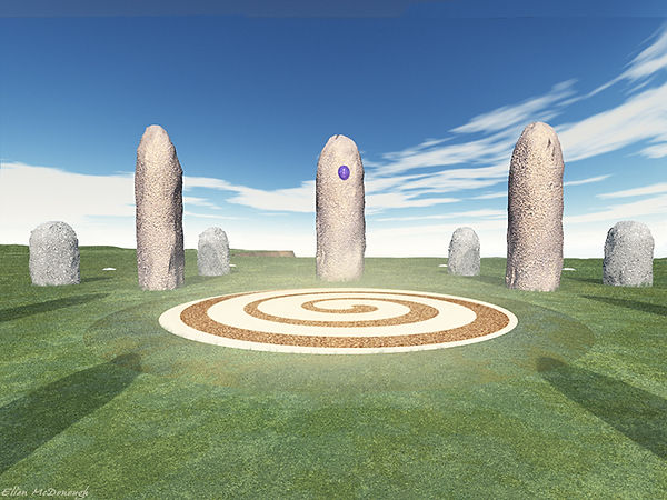 Closeup of a Hy-Brasil stone circle, built by the ancient Atlanteans