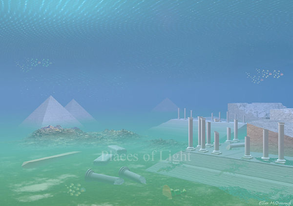 Atlantis Emerging - mystical image of Atlantean underwater ruins of pyramids, columns and ancient temples - by Places of Light Visionary Art
