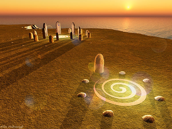 Hy-Brasil stone circle on the fall equinox sunset, built by the ancient Atlanteans