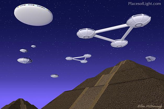 Pleiadian Visitation - mystical art by PlacesofLight.com