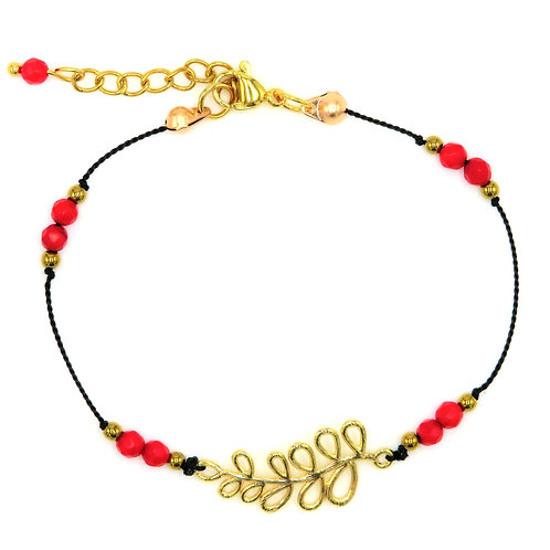 copy of Knotted Bracelet with Leaf, Natural Corals and African Turquoises