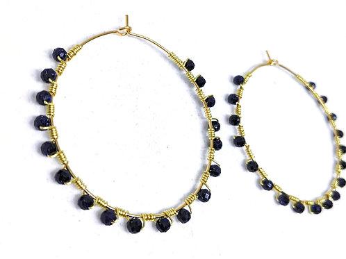 Purple Sandstone Hoop Earrings