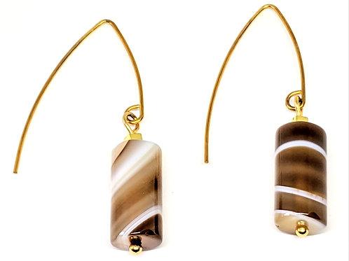 Dangling Tibetan Agate Earring