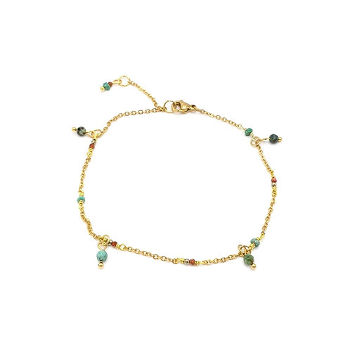 Turquoise and Gold Sandstone Anklet