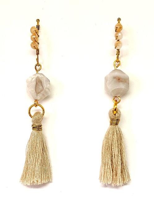 copy of Tassel White Lace Agate Earring