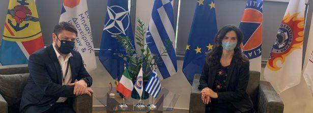 L'Ambasciatrice ad Atene Patrizia Falcinelli incontra il Vice Ministro della Protezione Civile e la Gestione delle Crisi Nikos Chardalias