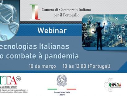 """LISBONA: MERCOLEDÌ IL WEBINAR DELLA CCI """"TECNOLOGIE ITALIANE NELLA LOTTA ALLA PANDEMIA"""""""