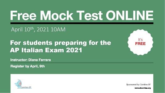 SAN FRANCISCO - Nell'ambito dell'attività a sostegno dell'esame Ap italian, la Commissione Lingua e cultura del Comites di San Francisco organizza anche quest'anno un test di simulazione online gratuito per gli studenti che si stanno preparando per affrontare l'esame nel 2021.