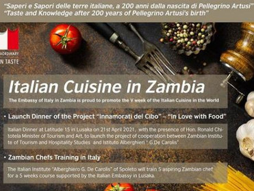 ZAMBIA: AL VIA PROGETTO DELL'AMBASCIATA PER PROMUOVERE LA CUCINA ITALIANA
