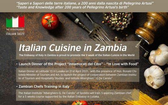 LUSAKA - Nell'ambito delle iniziative di promozione integrata a sostegno del Made in Italy, l'Ambasciata d'Italia in Zambia ha dato vita ad un progetto finalizzato alla valorizzazione della cucina italiana. A questo scopo, cinque studenti zambiani sono stati selezionati per fruire di un periodo di formazione in Italia della durata di cinque settimane.