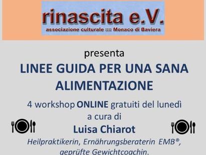 """Linee guida per una sana alimentazione: da Monaco i seminari online di """"Rinascita"""""""