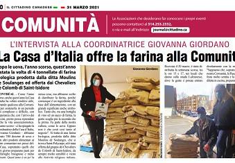 LA CASA D'ITALIA OFFRE LA FARINA ALLA COMUNITÀ: INTERVISTA ALLA COORDINATRICE GIOVANNA GIORDANO