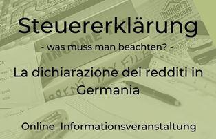 BERLINO - Nell'ambito del programma MBE – Migrationsberatung für Erwachsene le associazioni GUWBI e Box66 hanno organizzato un evento informativo sul tema della dichiarazione dei redditi in Germania che si terrà il prossimo 5 maggio, dalle dalle 16 alle 18.