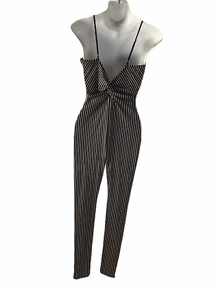 Item #81 black & tan pin stripe sleeveless one piece