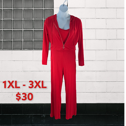 Red High waisted pant 3 piece pants set