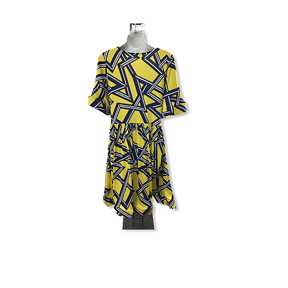 Item #22  blue and yellow printed formal dress