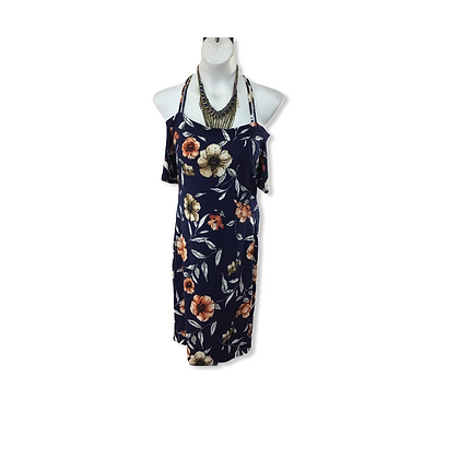 #4 Blue Floral short dress polyester and spandex blend