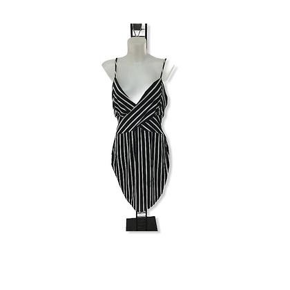 #65 Black and White Spaghetti Strap Mini Dress